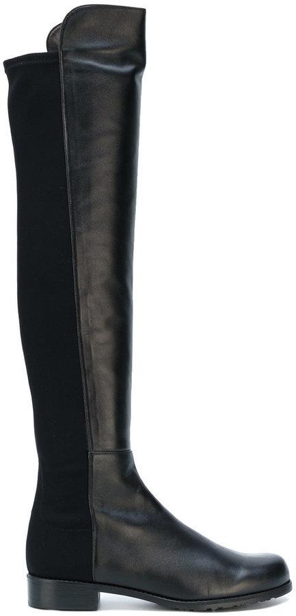 chaussures de séparation 29116 c5965 €644, Bottes hauteur genou en cuir noires Stuart Weitzman