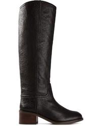 Bottes hauteur genou en cuir noires Tory Burch
