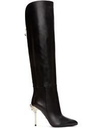 Bottes hauteur genou en cuir noires Versace