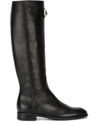 Bottes hauteur genou en cuir noires Versus