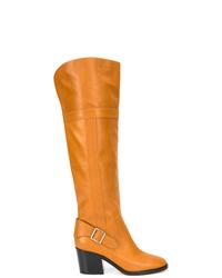 Bottes hauteur genou en cuir orange Derek Lam