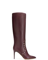 Bottes hauteur genou en cuir pourpre foncé Valentino