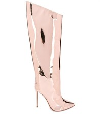 Bottes hauteur genou en cuir roses Alexandre Vauthier