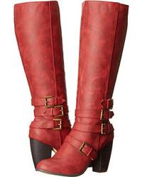 Bottes hauteur genou en cuir rouges