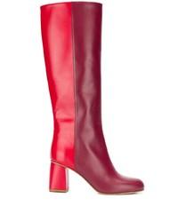 Bottes hauteur genou en cuir rouges RED Valentino