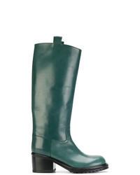 Bottes hauteur genou en cuir vert foncé