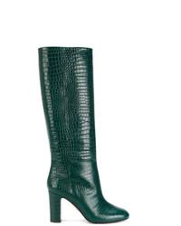 Bottes hauteur genou en cuir vert foncé Aquazzura