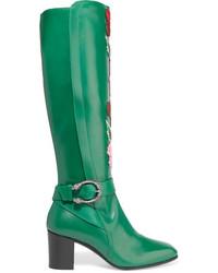 Bottes hauteur genou en cuir vertes Gucci