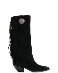 Bottes hauteur genou en daim à franges noires Saint Laurent