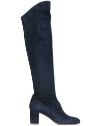 Bottes hauteur genou en daim bleu marine L'Autre Chose