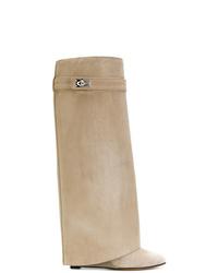 Bottes hauteur genou en daim marron clair Givenchy