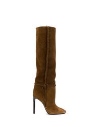 Bottes hauteur genou en daim marron Saint Laurent