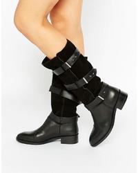 Bottes hauteur genou en daim noires Asos