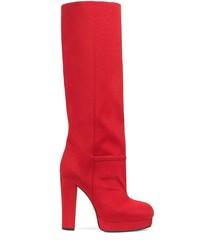 Bottes hauteur genou en daim rouges Gucci