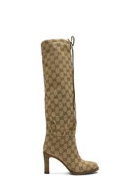 Bottes hauteur genou en toile marron clair Gucci