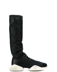 Bottes hauteur genou noires et blanches Adidas By Rick Owens