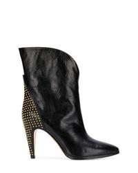 Bottes mi-mollet en cuir à clous noires Givenchy