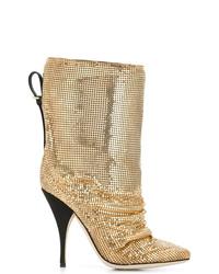 Bottes mi-mollet en cuir dorées Marco De Vincenzo