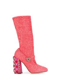 Bottes mi-mollet en cuir fuchsia Dolce & Gabbana