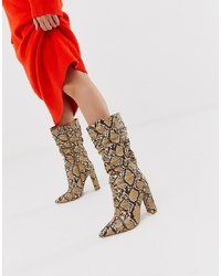 Bottes mi-mollet en cuir marron clair SIMMI Shoes