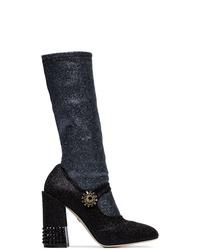 Bottes mi-mollet en cuir noires Dolce & Gabbana