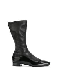 Bottes mi-mollet en cuir noires Giorgio Armani