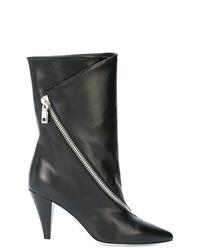 Bottes mi-mollet en cuir noires Givenchy