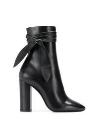 Bottes mi-mollet en cuir noires Saint Laurent