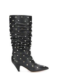 Bottes mi-mollet en cuir noires Valentino