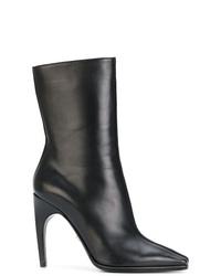 Bottes mi-mollet en cuir noires Versace