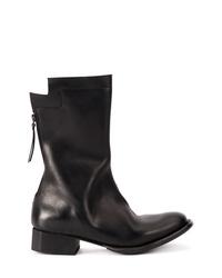 Bottes mi-mollet en cuir noires Yohji Yamamoto