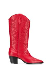 Bottes mi-mollet en cuir rouges Paris Texas