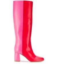 Bottes mi-mollet en cuir rouges RED Valentino