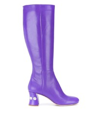 Bottes mi-mollet en cuir violettes Miu Miu
