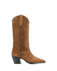 Bottes mi-mollet en daim marron Paris Texas