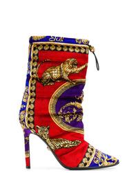 Bottes mi-mollet en daim multicolores Versace