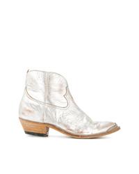 Bottes western en cuir argentées Golden Goose Deluxe Brand