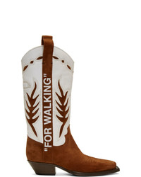 Bottes western en cuir blanc et marron
