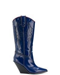 Bottes western en cuir bleu marine Diesel