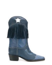 Bottes western en cuir bleu marine Ganni