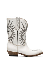 Bottes western en cuir brodées blanches Golden Goose Deluxe Brand