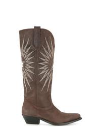 Bottes western en cuir brodées marron Golden Goose Deluxe Brand