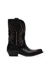 Bottes western en cuir brodées noires Golden Goose Deluxe Brand