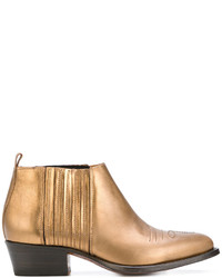 Bottes western en cuir dorées Buttero