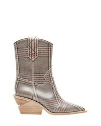 Bottes western en cuir écossaises grises Fendi