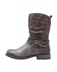 Bottes western en cuir grises foncées s.Oliver