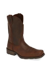 Bottes western en cuir marron foncé