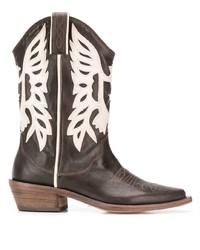 Bottes western en cuir marron foncé P.A.R.O.S.H.
