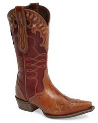 Bottes western en cuir marron