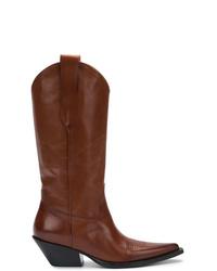 Bottes western en cuir marron Maison Margiela